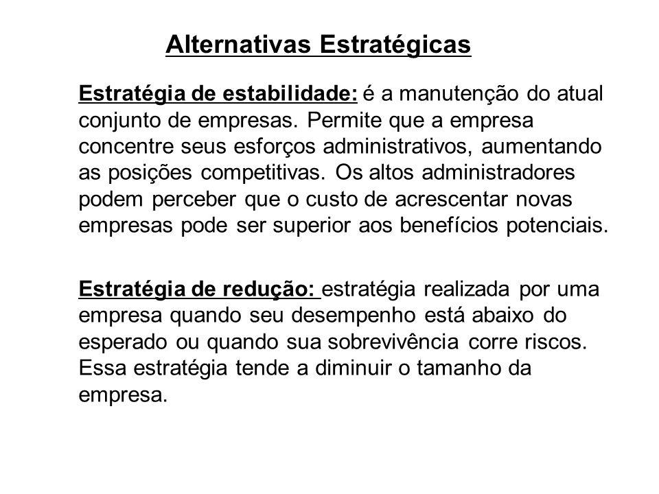 Alternativas Estratégicas Estratégia de estabilidade: é a manutenção do atual conjunto de empresas. Permite que a empresa concentre seus esforços admi