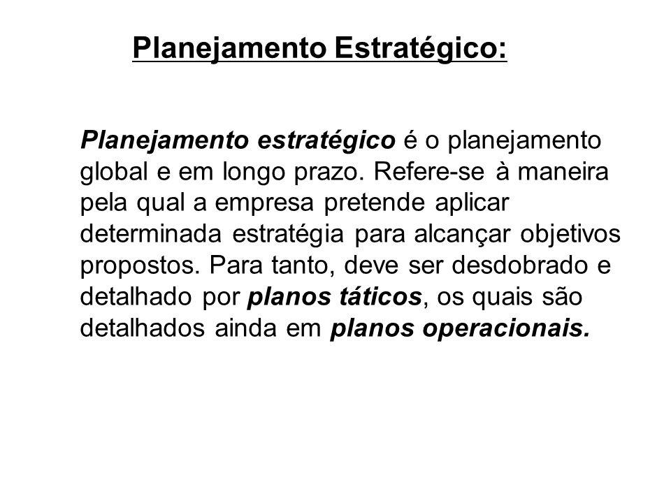 Planejamento Estratégico: Planejamento estratégico é o planejamento global e em longo prazo. Refere-se à maneira pela qual a empresa pretende aplicar