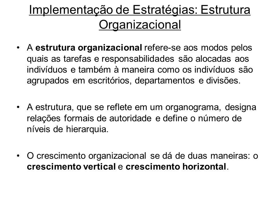 Implementação de Estratégias: Estrutura Organizacional A estrutura organizacional refere-se aos modos pelos quais as tarefas e responsabilidades são a