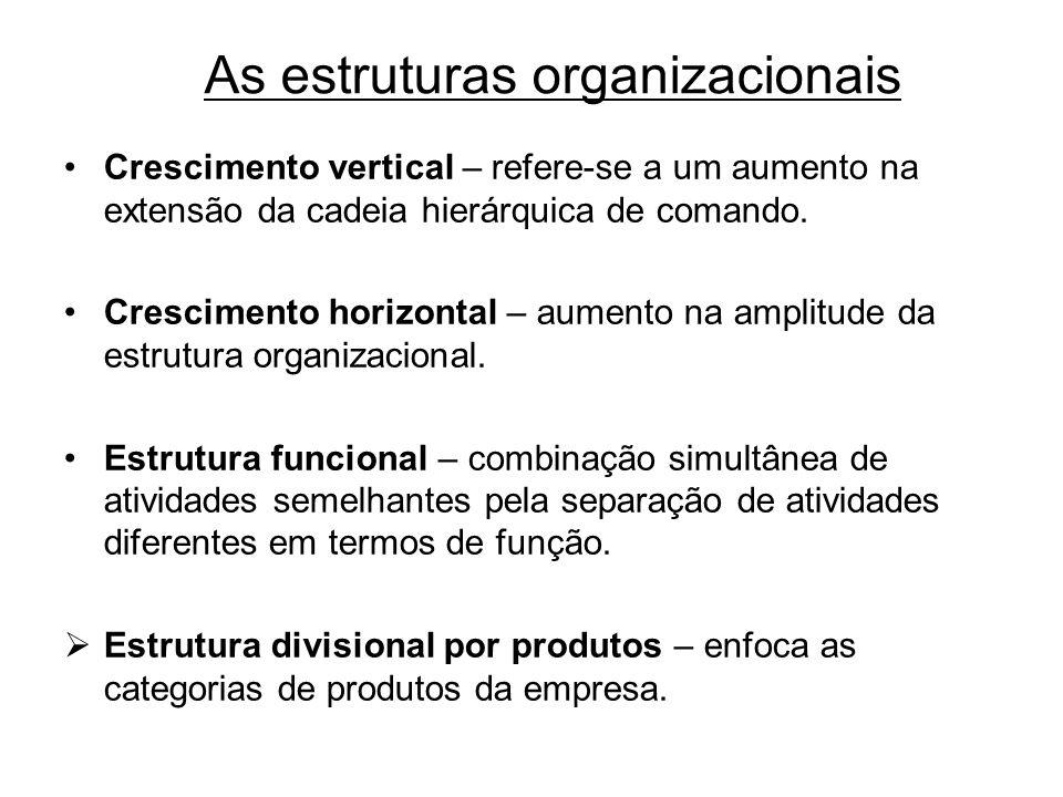 As estruturas organizacionais Crescimento vertical – refere-se a um aumento na extensão da cadeia hierárquica de comando. Crescimento horizontal – aum