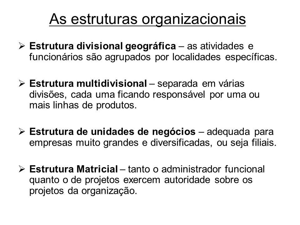As estruturas organizacionais Estrutura divisional geográfica – as atividades e funcionários são agrupados por localidades específicas. Estrutura mult