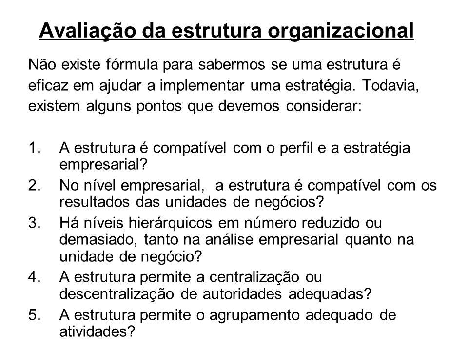 Avaliação da estrutura organizacional Não existe fórmula para sabermos se uma estrutura é eficaz em ajudar a implementar uma estratégia. Todavia, exis