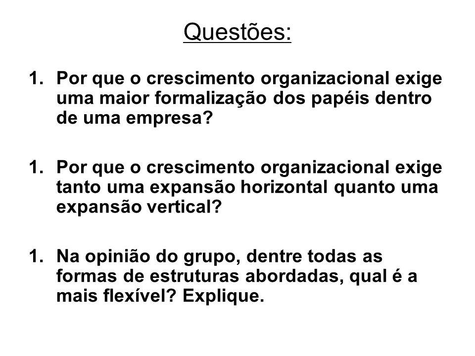 Questões: 1.Por que o crescimento organizacional exige uma maior formalização dos papéis dentro de uma empresa? 1.Por que o crescimento organizacional