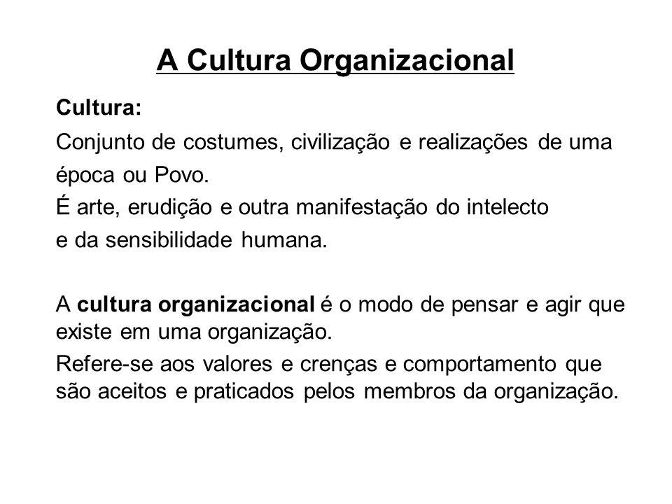 A Cultura Organizacional Cultura: Conjunto de costumes, civilização e realizações de uma época ou Povo. É arte, erudição e outra manifestação do intel