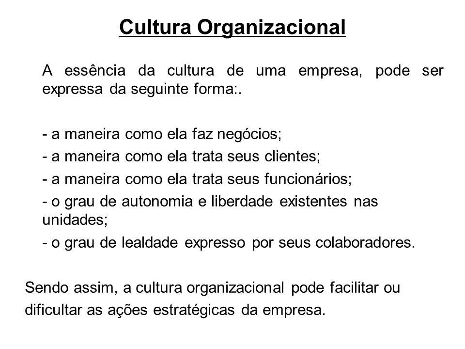 Cultura Organizacional A essência da cultura de uma empresa, pode ser expressa da seguinte forma:. - a maneira como ela faz negócios; - a maneira como