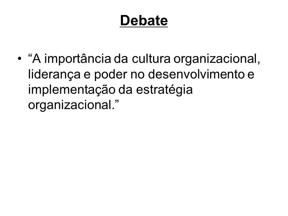 Debate A importância da cultura organizacional, liderança e poder no desenvolvimento e implementação da estratégia organizacional.