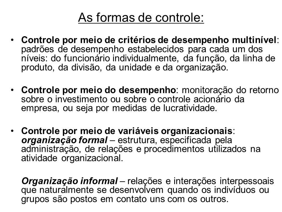 As formas de controle: Controle por meio de critérios de desempenho multinível: padrões de desempenho estabelecidos para cada um dos níveis: do funcio