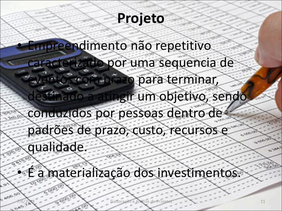 Projeto Empreendimento não repetitivo caracterizado por uma sequencia de eventos com prazo para terminar, destinado a atingir um objetivo, sendo condu