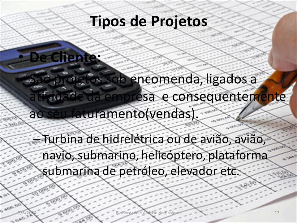 Tipos de Projetos De Cliente: São projetos sob encomenda, ligados a atividade da empresa e consequentemente ao seu faturamento(vendas). – Turbina de h