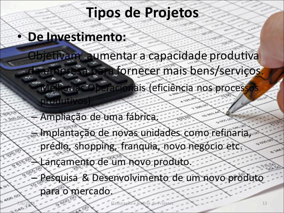 Tipos de Projetos De Investimento: Objetivam aumentar a capacidade produtiva da empresa para fornecer mais bens/serviços. – Melhorias Operacionais (ef