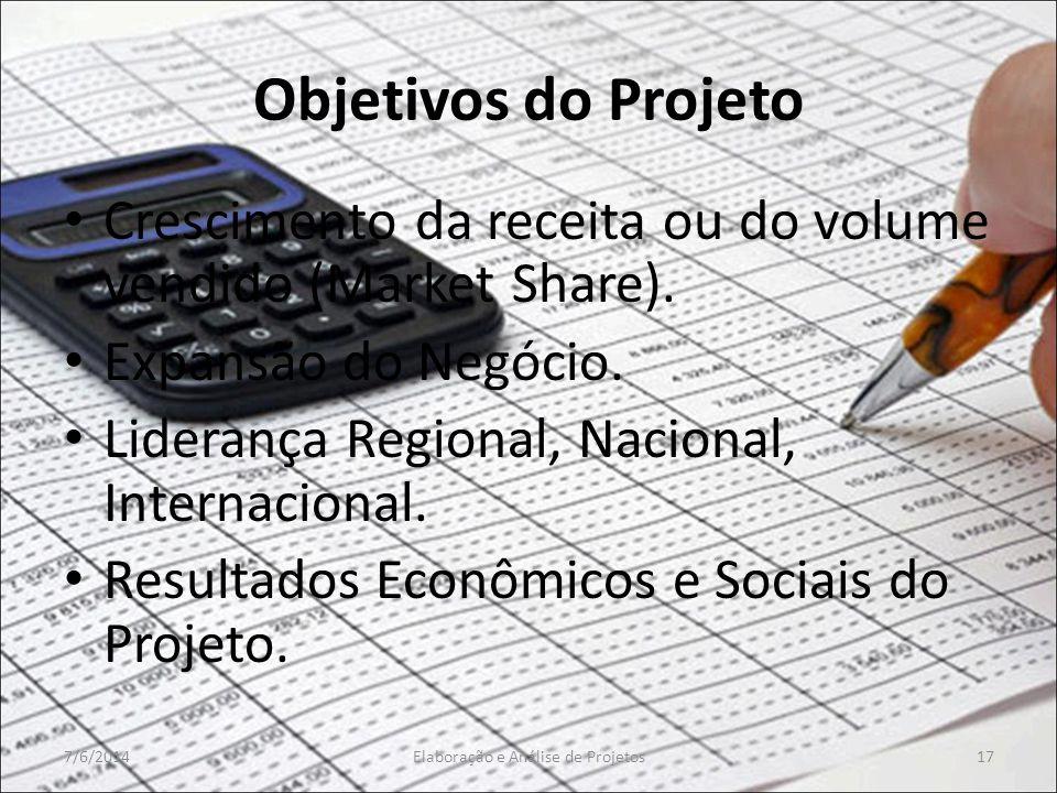 Objetivos do Projeto Crescimento da receita ou do volume vendido (Market Share). Expansão do Negócio. Liderança Regional, Nacional, Internacional. Res