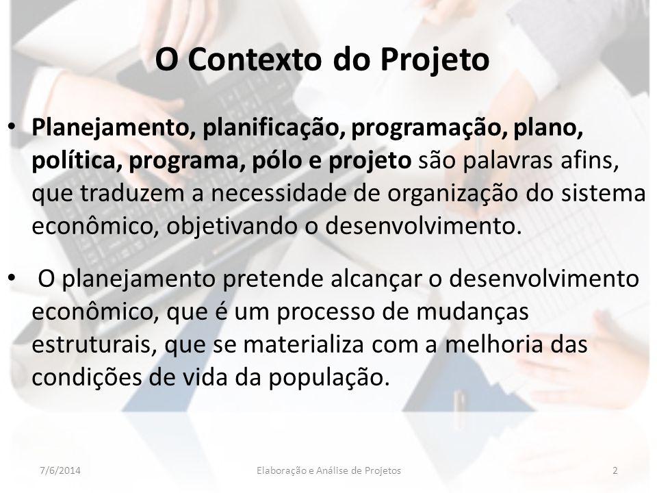 O Contexto do Projeto Planejamento, planificação, programação, plano, política, programa, pólo e projeto são palavras afins, que traduzem a necessidad