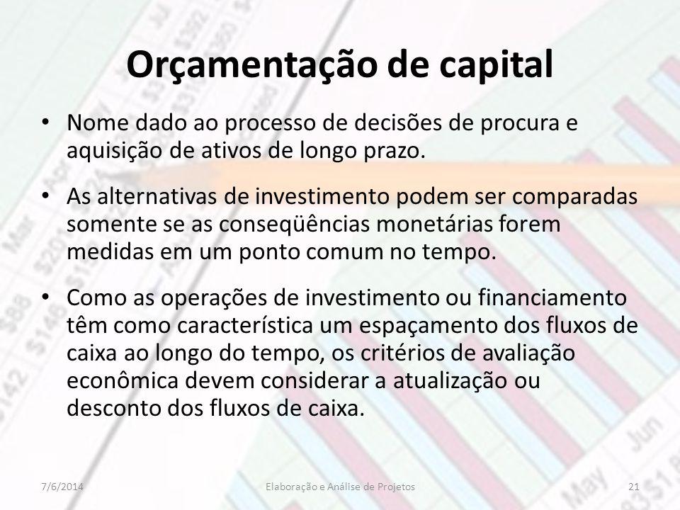 Orçamentação de capital Nome dado ao processo de decisões de procura e aquisição de ativos de longo prazo. As alternativas de investimento podem ser c