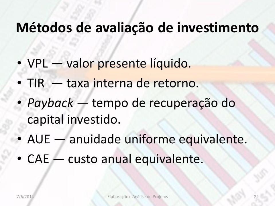 Métodos de avaliação de investimento VPL valor presente líquido. TIR taxa interna de retorno. Payback tempo de recuperação do capital investido. AUE a