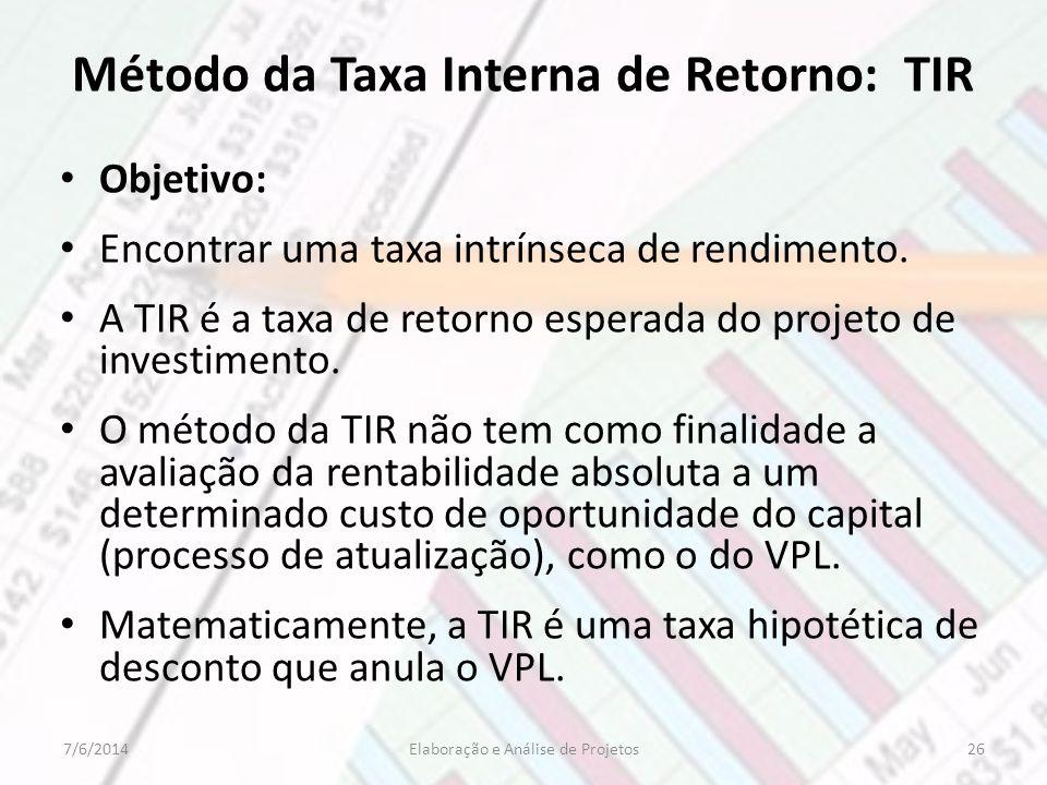 Método da Taxa Interna de Retorno: TIR Objetivo: Encontrar uma taxa intrínseca de rendimento. A TIR é a taxa de retorno esperada do projeto de investi