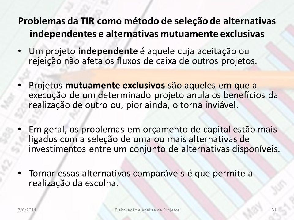 Problemas da TIR como método de seleção de alternativas independentes e alternativas mutuamente exclusivas Um projeto independente é aquele cuja aceit