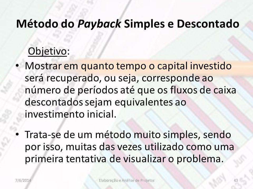 Método do Payback Simples e Descontado Objetivo: Mostrar em quanto tempo o capital investido será recuperado, ou seja, corresponde ao número de períod