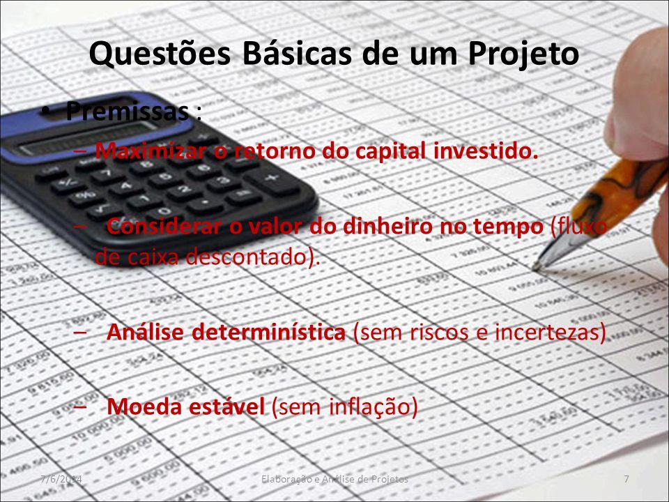 Questões Básicas de um Projeto Premissas : –Maximizar o retorno do capital investido. – Considerar o valor do dinheiro no tempo (fluxo de caixa descon