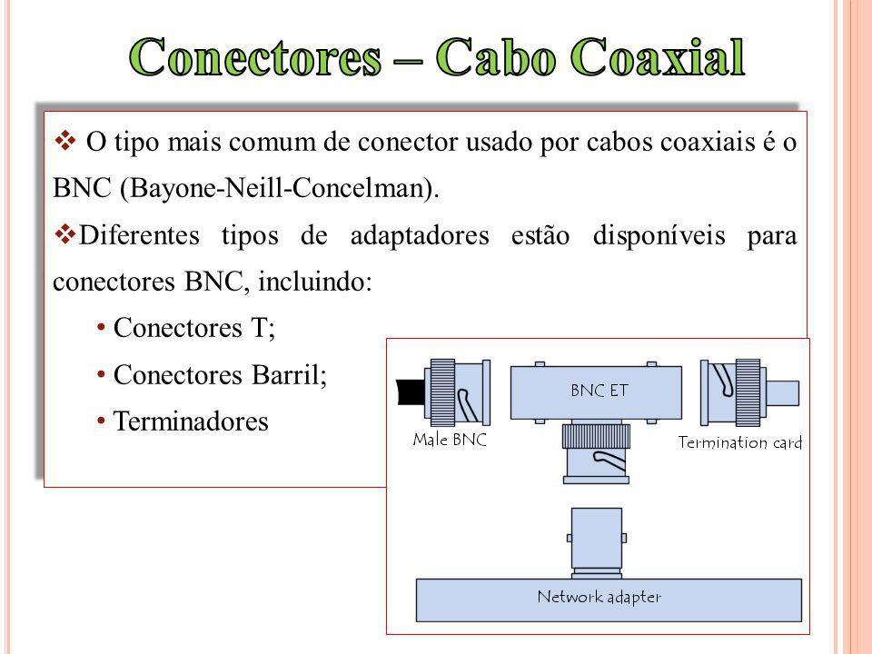 O tipo mais comum de conector usado por cabos coaxiais é o BNC (Bayone-Neill-Concelman). Diferentes tipos de adaptadores estão disponíveis para conect