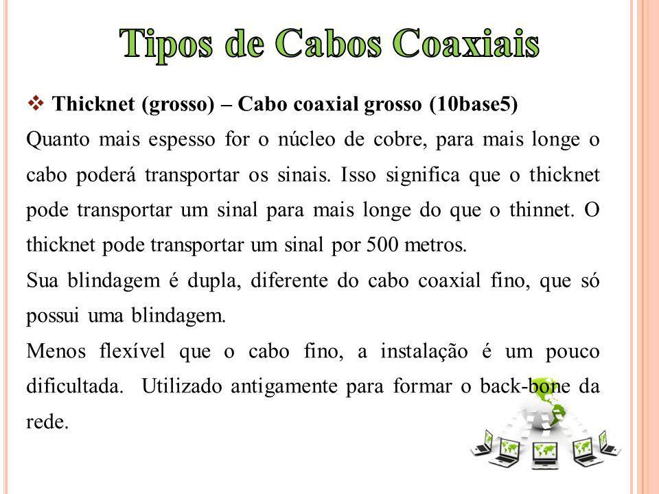 Thicknet (grosso) – Cabo coaxial grosso (10base5) Quanto mais espesso for o núcleo de cobre, para mais longe o cabo poderá transportar os sinais. Isso