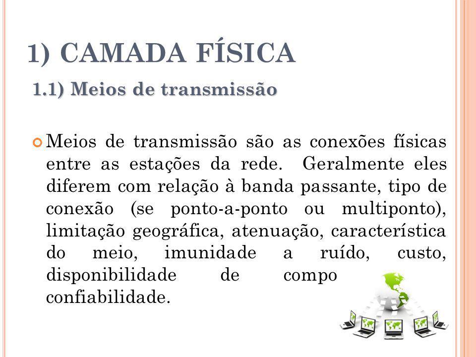 1) CAMADA FÍSICA 1.1) Meios de transmissão Meios de transmissão são as conexões físicas entre as estações da rede. Geralmente eles diferem com relação