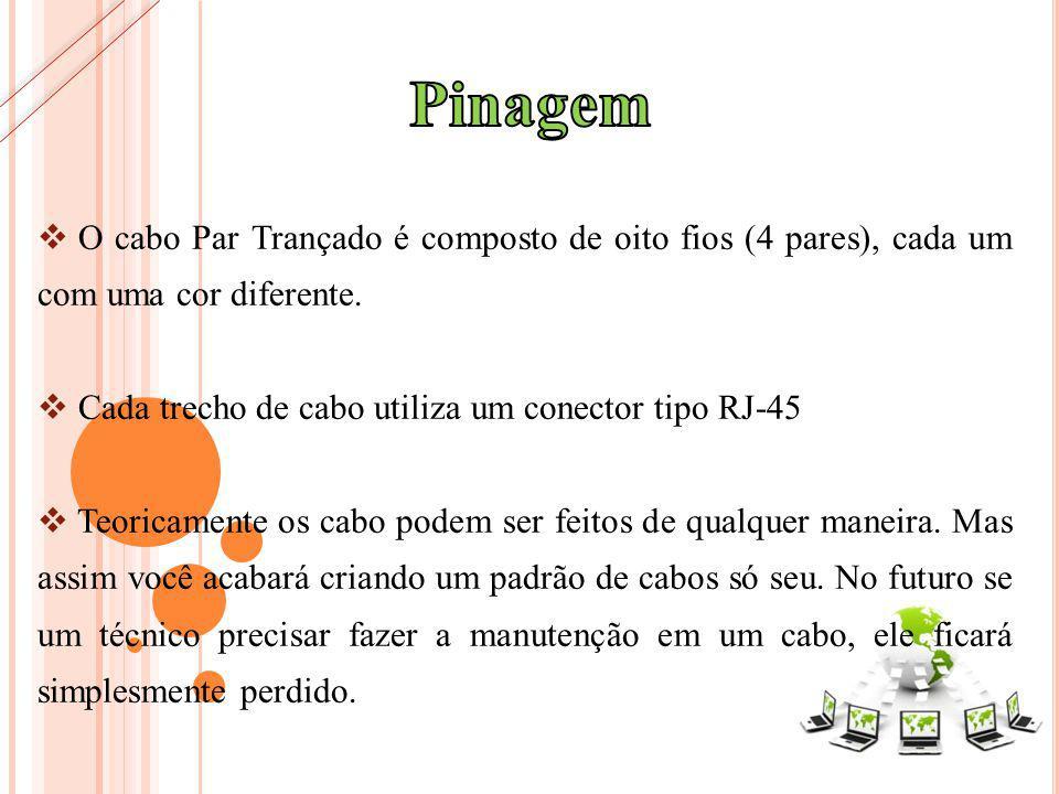 O cabo Par Trançado é composto de oito fios (4 pares), cada um com uma cor diferente. Cada trecho de cabo utiliza um conector tipo RJ-45 Teoricamente