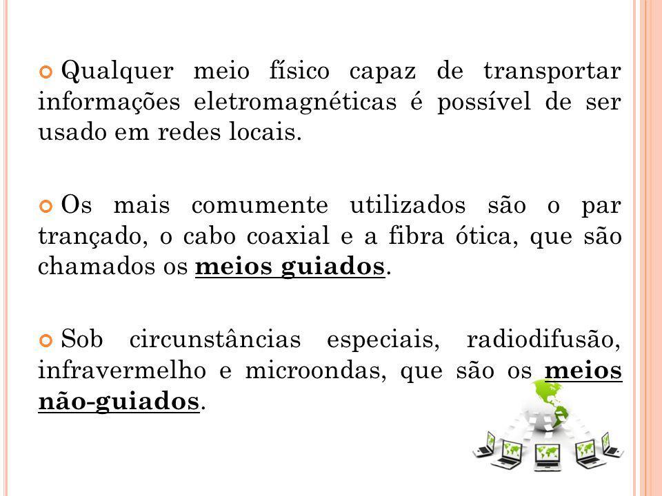 Qualquer meio físico capaz de transportar informações eletromagnéticas é possível de ser usado em redes locais. Os mais comumente utilizados são o par