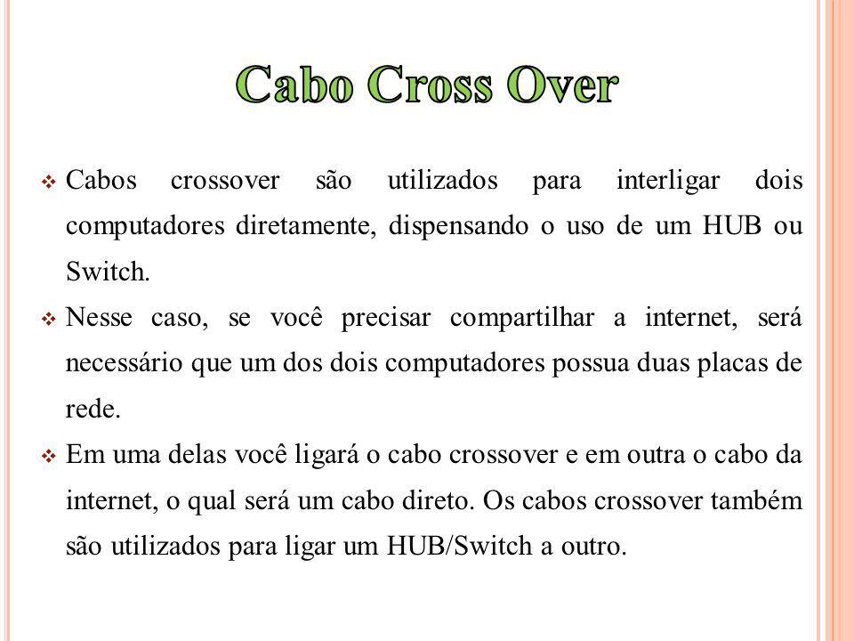 Cabos crossover são utilizados para interligar dois computadores diretamente, dispensando o uso de um HUB ou Switch.