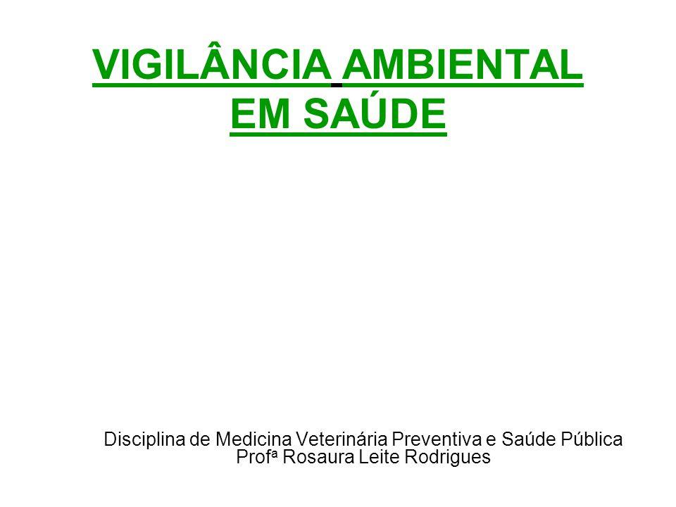 VIGILÂNCIA AMBIENTAL EM SAÚDE Disciplina de Medicina Veterinária Preventiva e Saúde Pública Prof a Rosaura Leite Rodrigues
