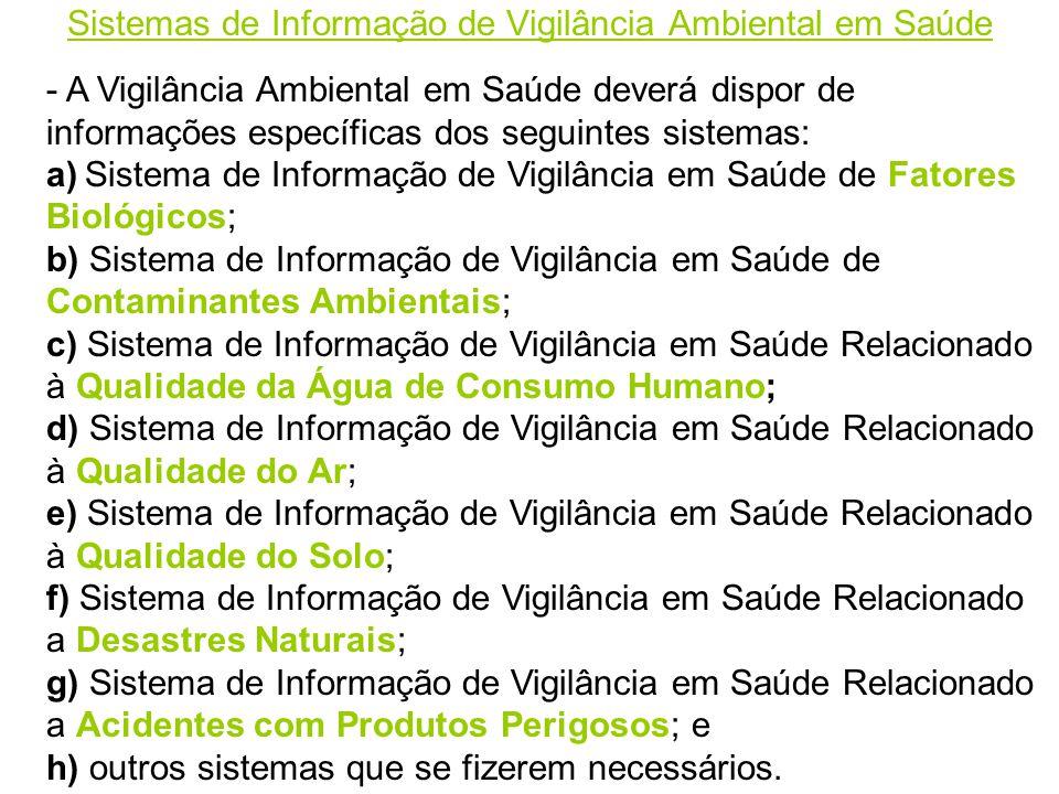 Sistemas de Informação de Vigilância Ambiental em Saúde - A Vigilância Ambiental em Saúde deverá dispor de informações específicas dos seguintes sistemas: a) Sistema de Informação de Vigilância em Saúde de Fatores Biológicos; b) Sistema de Informação de Vigilância em Saúde de Contaminantes Ambientais; c) Sistema de Informação de Vigilância em Saúde Relacionado à Qualidade da Água de Consumo Humano; d) Sistema de Informação de Vigilância em Saúde Relacionado à Qualidade do Ar; e) Sistema de Informação de Vigilância em Saúde Relacionado à Qualidade do Solo; f) Sistema de Informação de Vigilância em Saúde Relacionado a Desastres Naturais; g) Sistema de Informação de Vigilância em Saúde Relacionado a Acidentes com Produtos Perigosos; e h) outros sistemas que se fizerem necessários.
