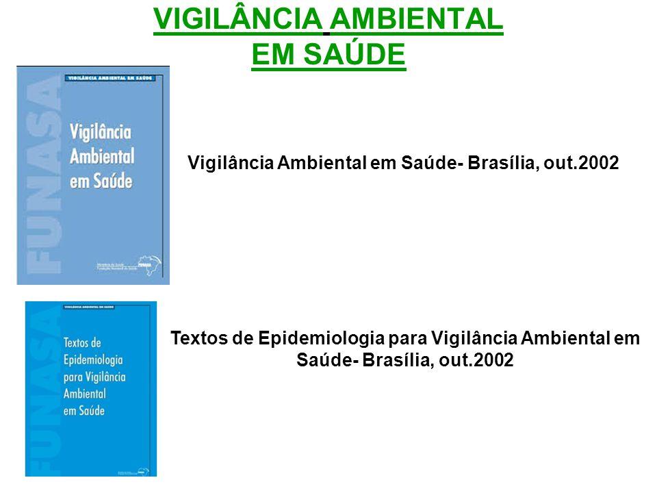 VIGILÂNCIA AMBIENTAL EM SAÚDE Vigilância Ambiental em Saúde- Brasília, out.2002 Textos de Epidemiologia para Vigilância Ambiental em Saúde- Brasília, out.2002