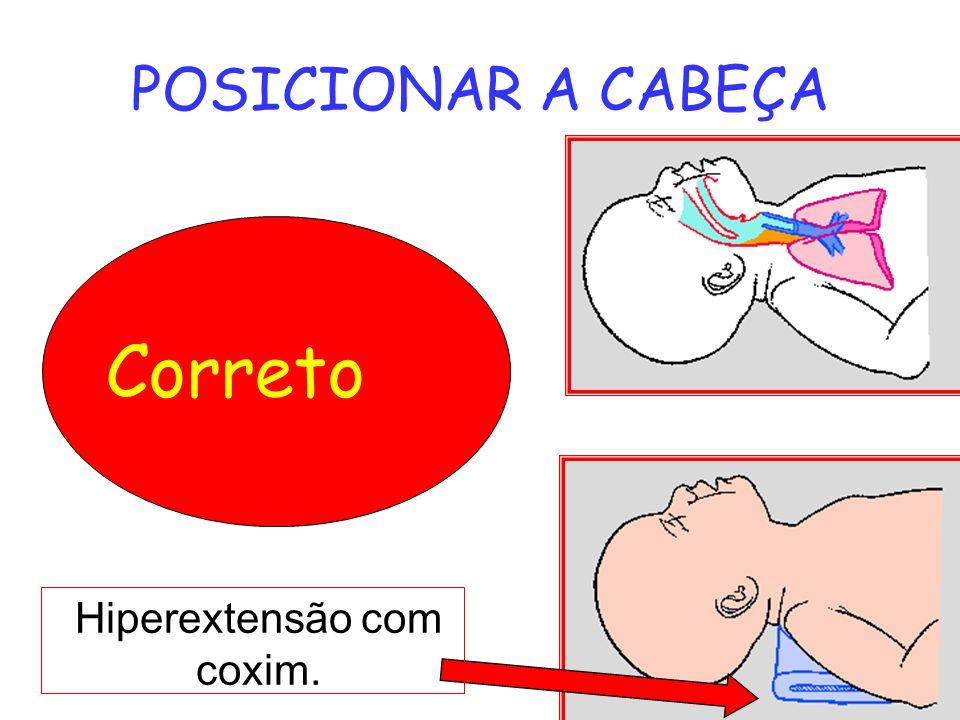 POSICIONAR A CABEÇA Correto Hiperextensão com coxim.