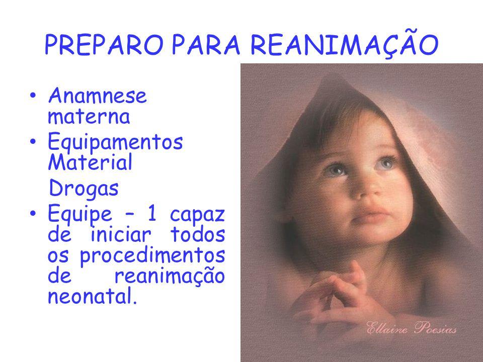 PREPARO PARA REANIMAÇÃO Anamnese materna Equipamentos Material Drogas Equipe – 1 capaz de iniciar todos os procedimentos de reanimação neonatal.