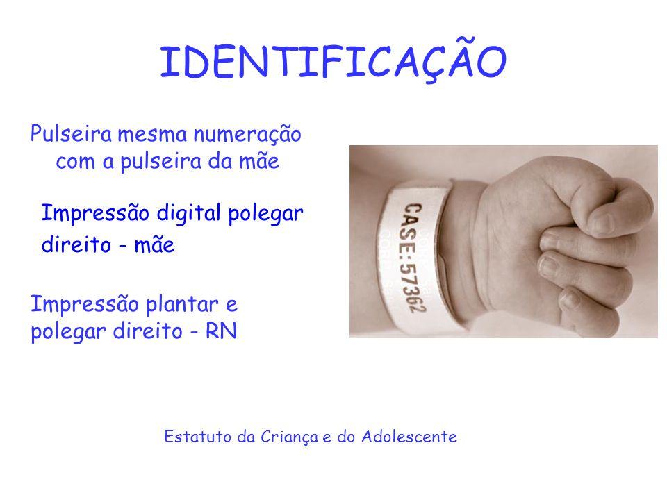 IDENTIFICAÇÃO Pulseira mesma numeração com a pulseira da mãe Estatuto da Criança e do Adolescente Impressão digital polegar direito - mãe Impressão pl