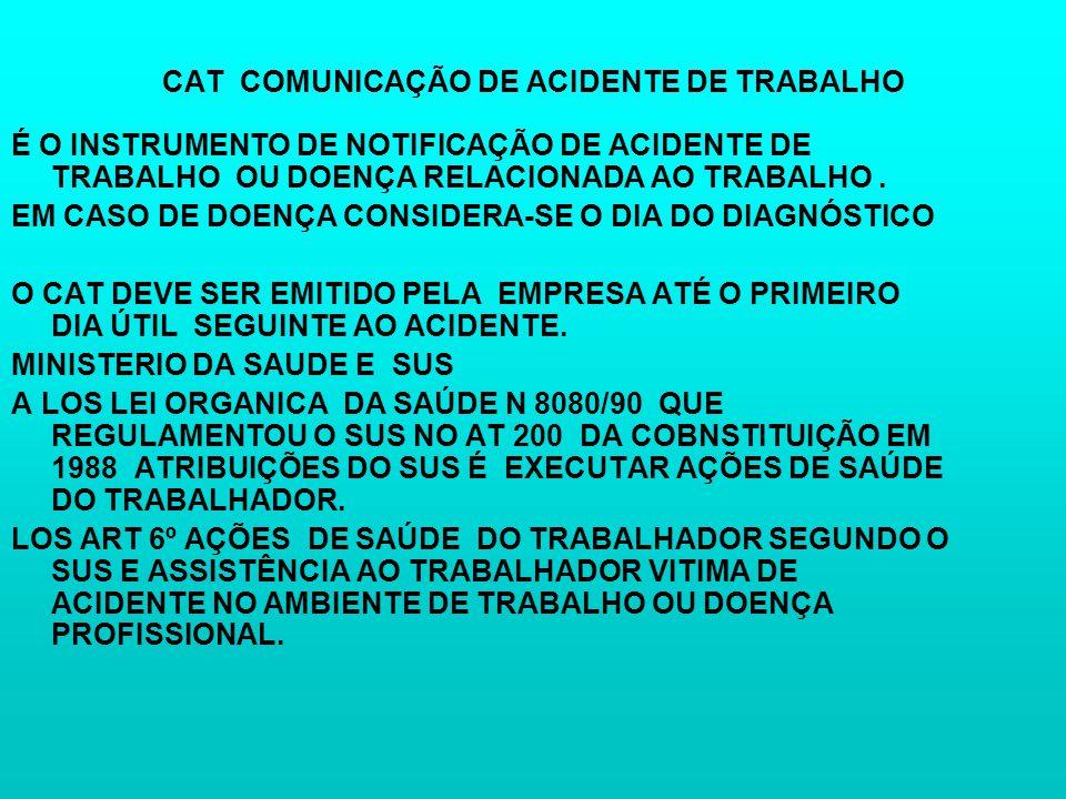 CAT COMUNICAÇÃO DE ACIDENTE DE TRABALHO É O INSTRUMENTO DE NOTIFICAÇÃO DE ACIDENTE DE TRABALHO OU DOENÇA RELACIONADA AO TRABALHO. EM CASO DE DOENÇA CO