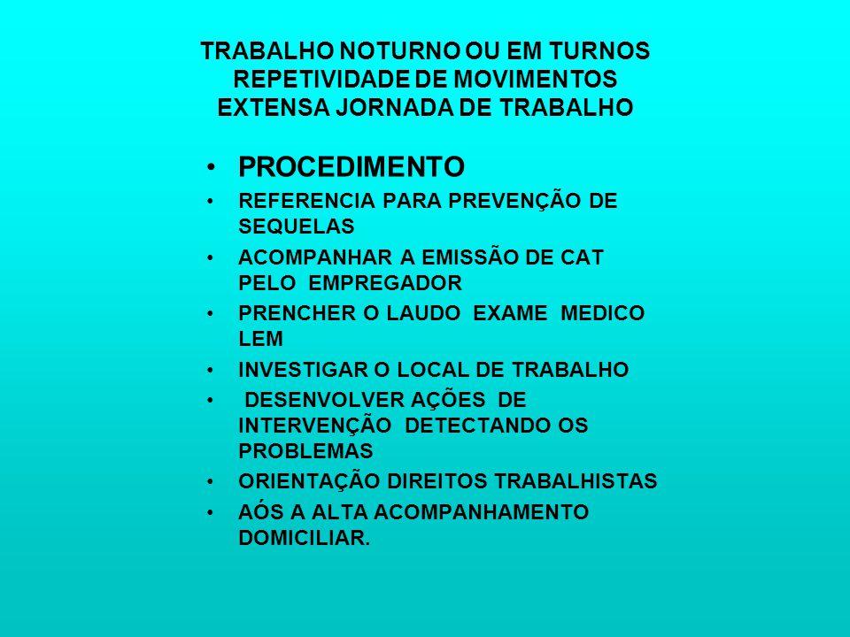 TRABALHO NOTURNO OU EM TURNOS REPETIVIDADE DE MOVIMENTOS EXTENSA JORNADA DE TRABALHO PROCEDIMENTO REFERENCIA PARA PREVENÇÃO DE SEQUELAS ACOMPANHAR A EMISSÃO DE CAT PELO EMPREGADOR PRENCHER O LAUDO EXAME MEDICO LEM INVESTIGAR O LOCAL DE TRABALHO DESENVOLVER AÇÕES DE INTERVENÇÃO DETECTANDO OS PROBLEMAS ORIENTAÇÃO DIREITOS TRABALHISTAS AÓS A ALTA ACOMPANHAMENTO DOMICILIAR.