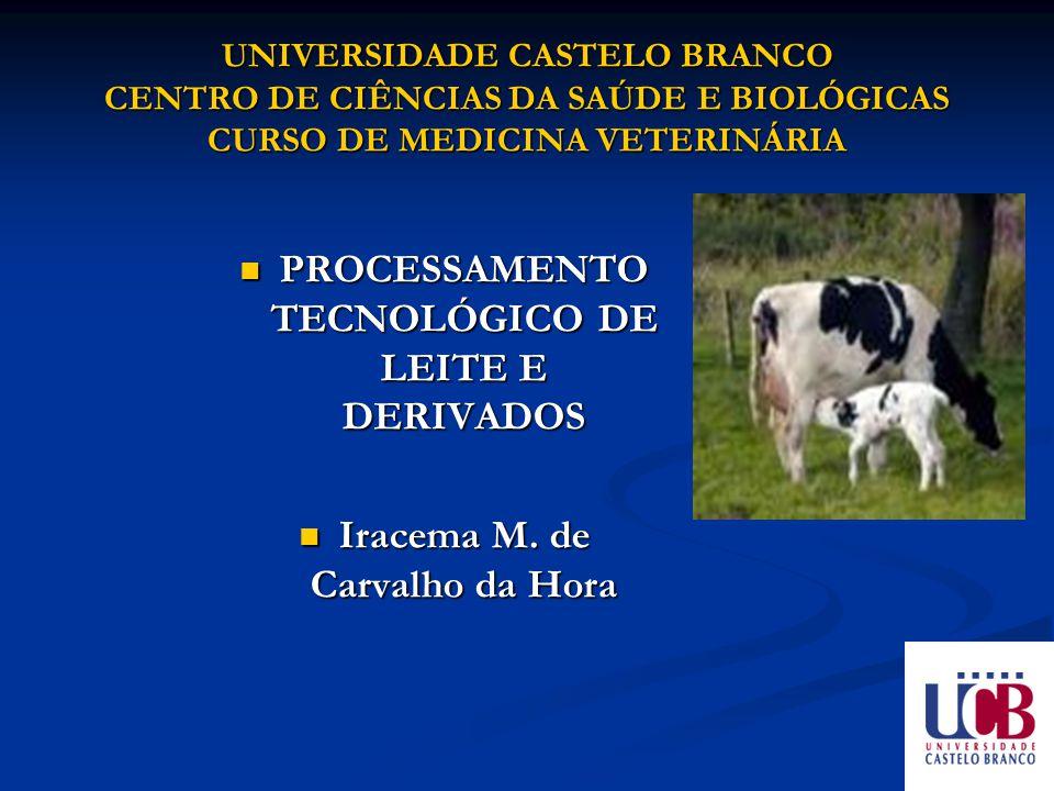UNIVERSIDADE CASTELO BRANCO CENTRO DE CIÊNCIAS DA SAÚDE E BIOLÓGICAS CURSO DE MEDICINA VETERINÁRIA PROCESSAMENTO TECNOLÓGICO DE LEITE E DERIVADOS PROC