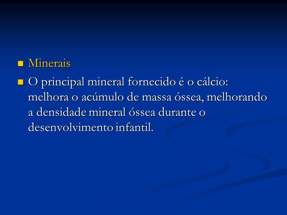 Minerais Minerais O principal mineral fornecido é o cálcio: melhora o acúmulo de massa óssea, melhorando a densidade mineral óssea durante o desenvolv