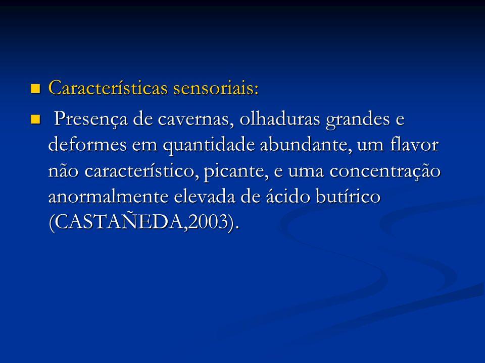 Características sensoriais: Características sensoriais: Presença de cavernas, olhaduras grandes e deformes em quantidade abundante, um flavor não cara