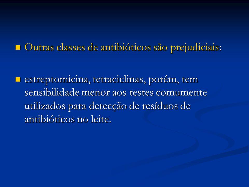 Outras classes de antibióticos são prejudiciais: Outras classes de antibióticos são prejudiciais: estreptomicina, tetraciclinas, porém, tem sensibilid