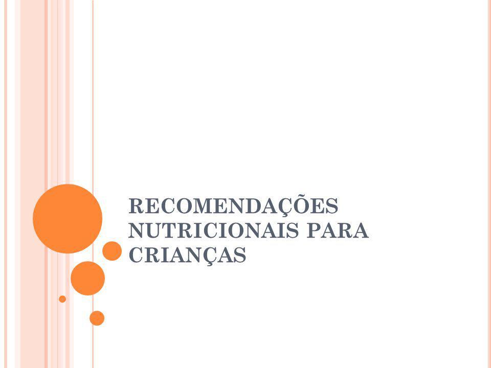 RECOMENDAÇÕES NUTRICIONAIS PARA CRIANÇAS