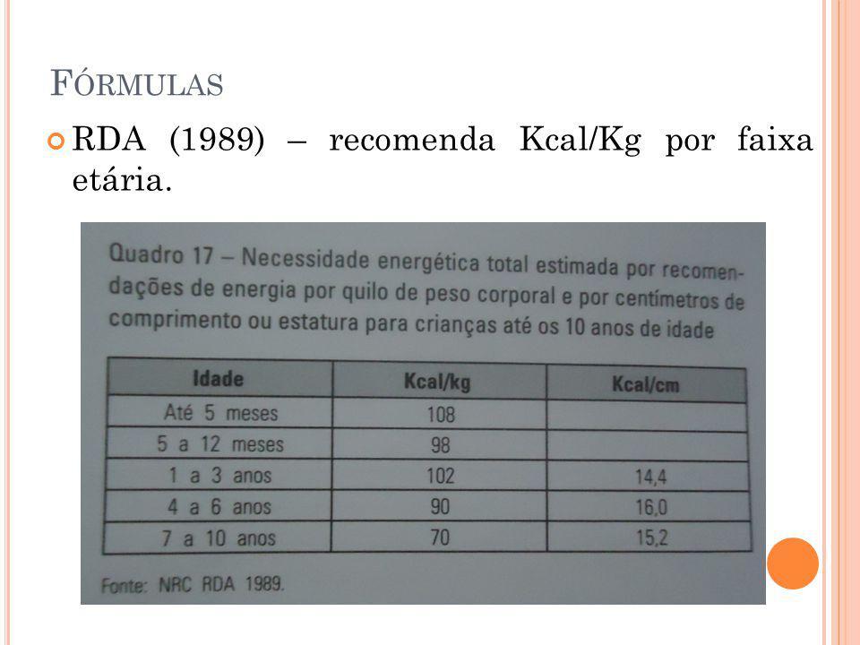 F ÓRMULAS RDA (1989) – recomenda Kcal/Kg por faixa etária.