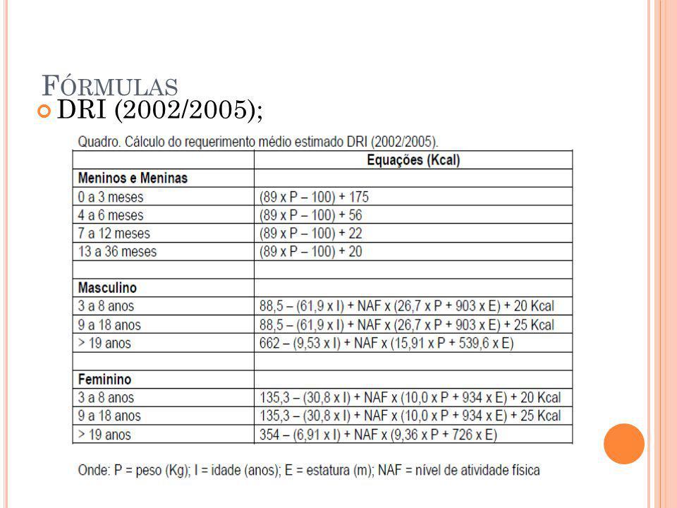 F ÓRMULAS DRI (2002/2005);
