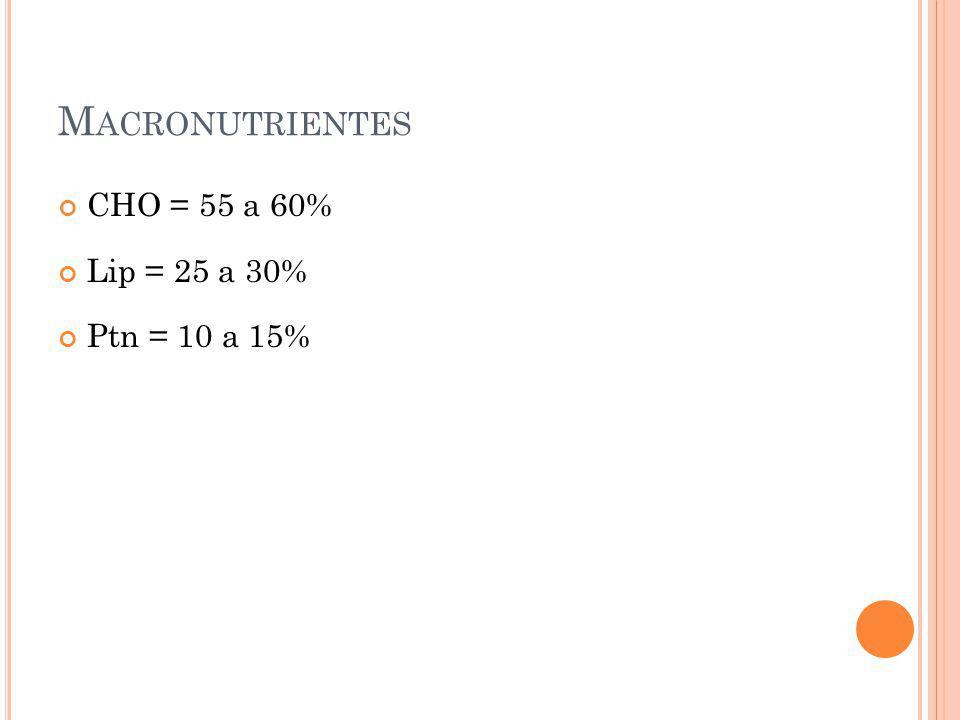 M ACRONUTRIENTES CHO = 55 a 60% Lip = 25 a 30% Ptn = 10 a 15%