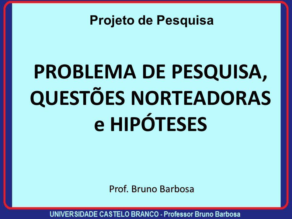 PROBLEMA DE PESQUISA, QUESTÕES NORTEADORAS e HIPÓTESES Prof. Bruno Barbosa Projeto de Pesquisa