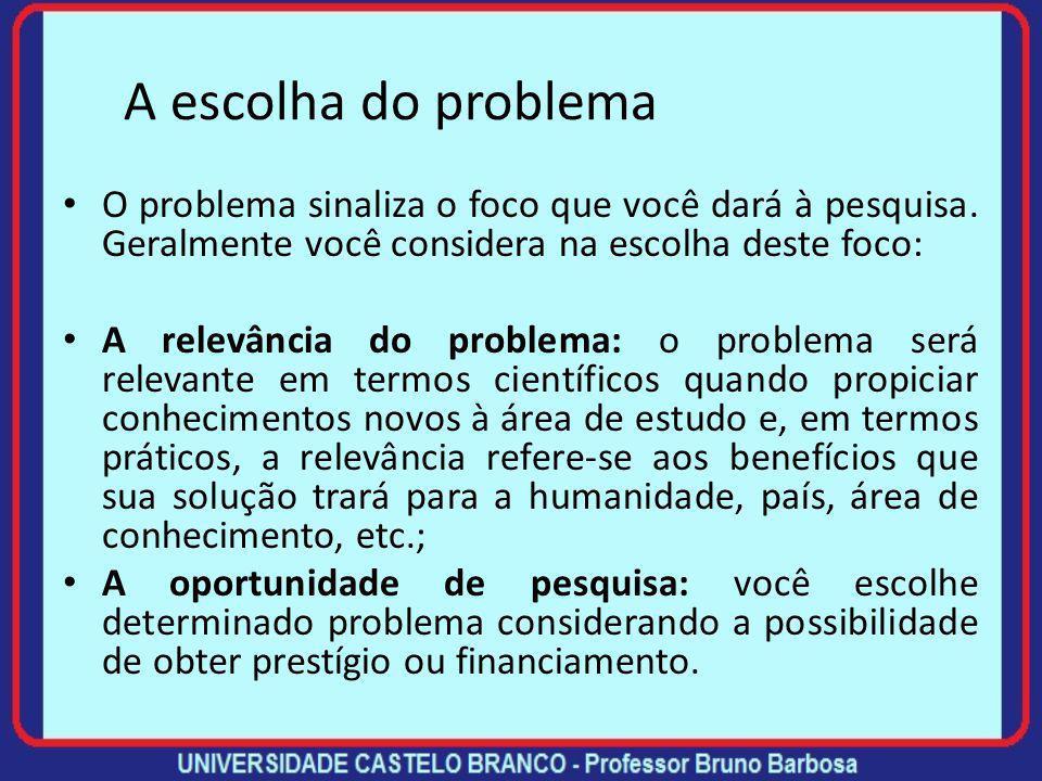 A escolha do problema Muitos fatores determinam a escolha de um problema de pesquisa, mas é prudente se fazer as seguintes perguntas no momento da dec