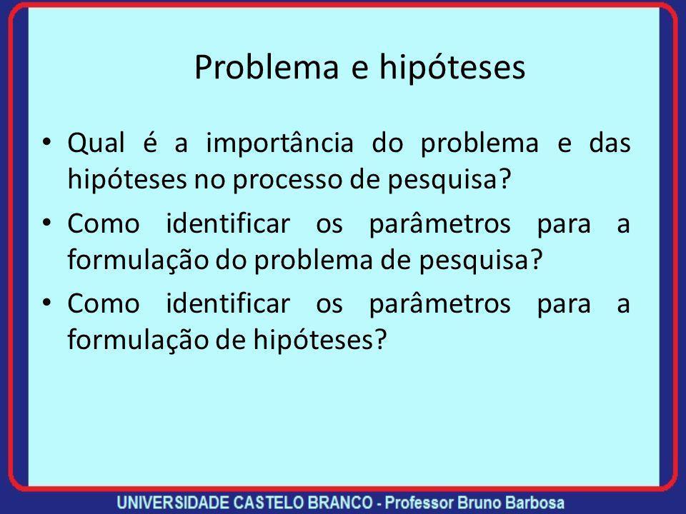 Problema e hipóteses Qual é a importância do problema e das hipóteses no processo de pesquisa.