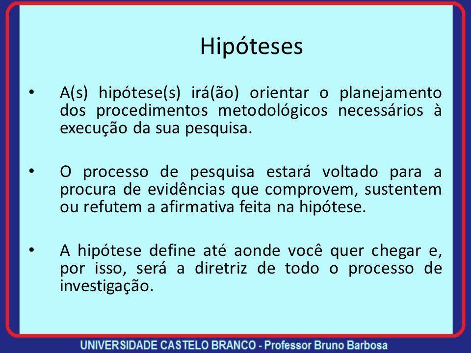 Hipóteses Hipóteses são suposições colocadas como respostas plausíveis e provisórias para o problema de pesquisa. As hipóteses são provisórias porque