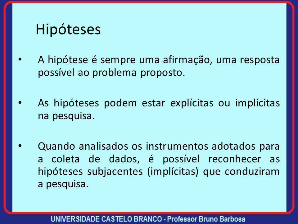 Hipóteses A(s) hipótese(s) irá(ão) orientar o planejamento dos procedimentos metodológicos necessários à execução da sua pesquisa. O processo de pesqu
