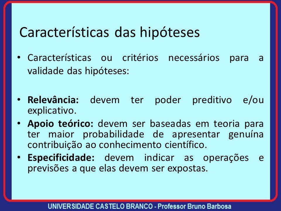 Características das hipóteses Características ou critérios necessários para a validade das hipóteses: Consistência lógica: o enunciado das hipóteses n